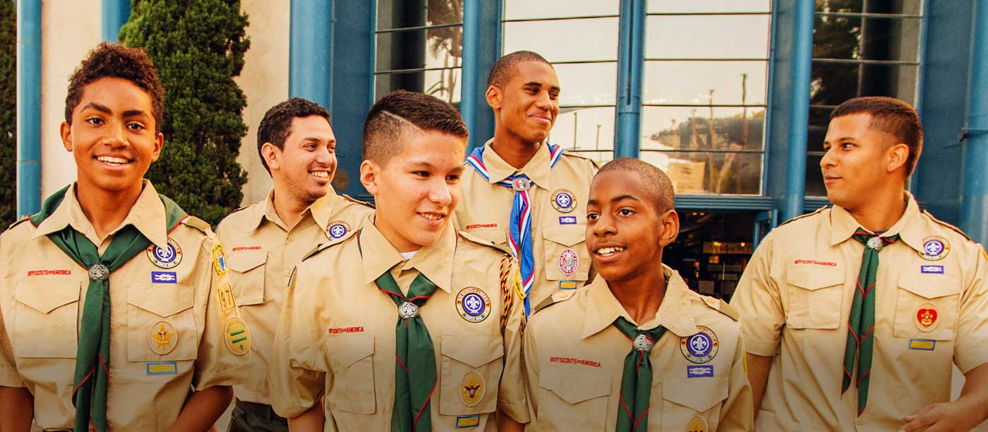 Boy Scouts walking and smiling