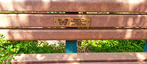 Bronze Garden bench plaque with sample text