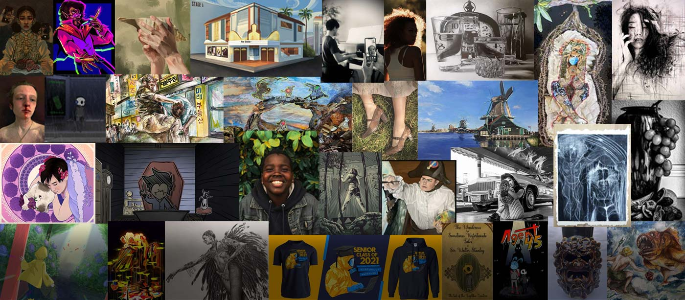 Collage of 2021 Scholastic Art & Writing Award winners