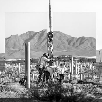 Workers during the construction of the Ivanpah Solar facility