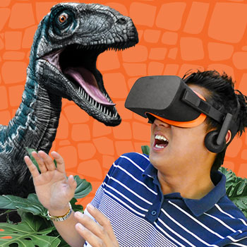 Man wearing VR headset reacts to Blue the velociraptor