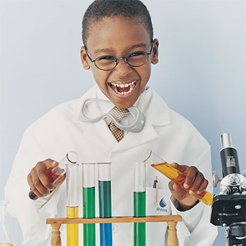 Kid testing water samples
