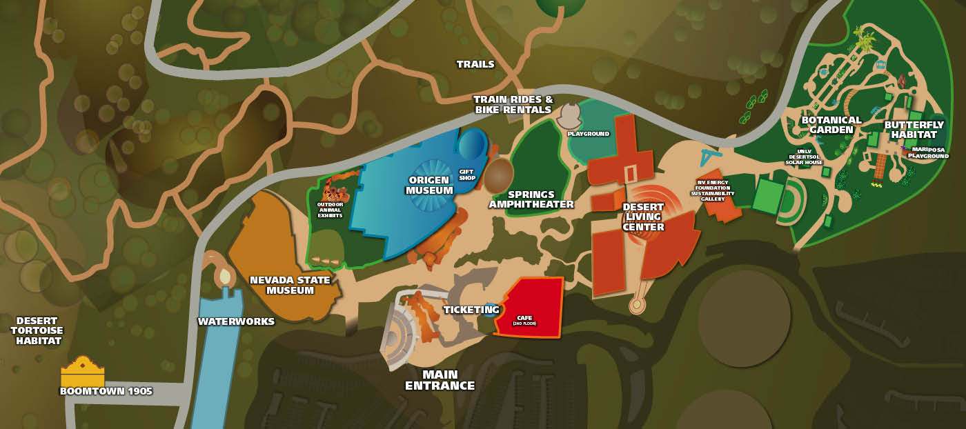 Map of Springs Preserve property showing the location of attractions. If you need this map described to you, please call us at 702-258-3930.